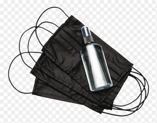 Bottle of Lotion sanitizer and balck medical masks on transparent background PNG