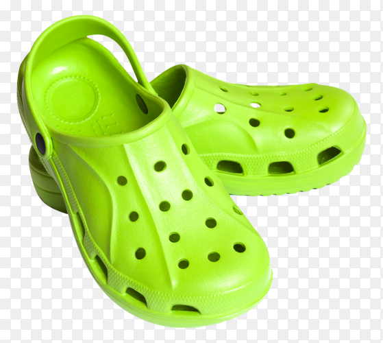 Bright green clogs on transparent background PNG