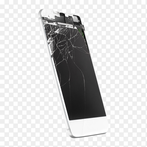 Broken mobile phone screen isolated on transparent background PNG