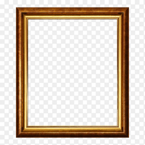 Bronze and golden frame on transparent background PNG