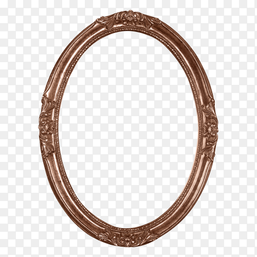 Bronze oval picture frame on transparent background PNG
