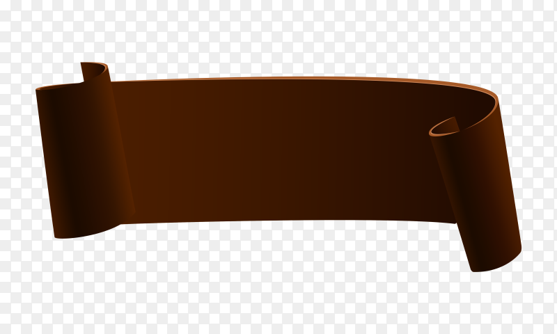 Brown Ribbon banner on transparent background PNG