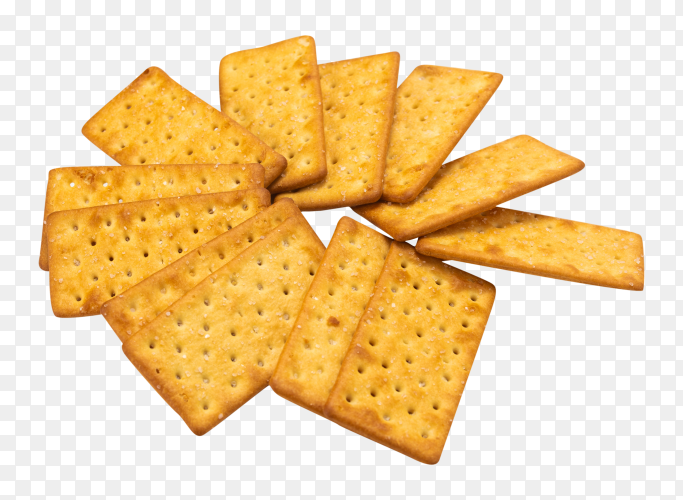 Bunch crackers with salt on transparent background PNG