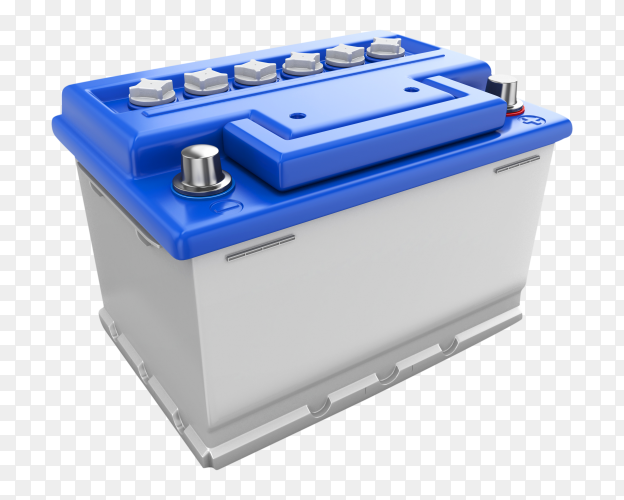 Car battery 3D on transparent background PNG
