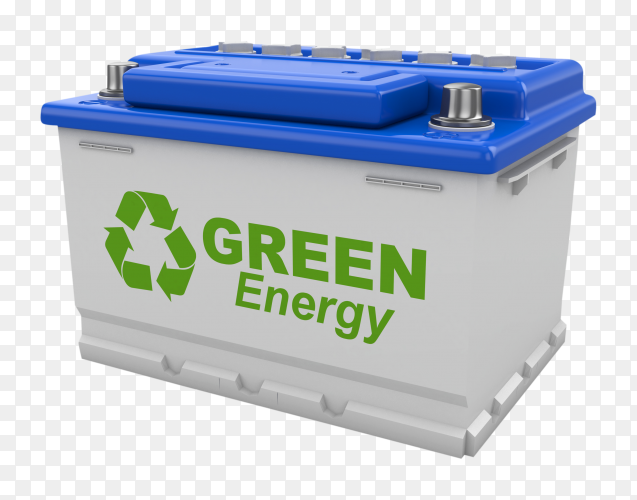 Car battery with green recycle sign on transparent background PNG
