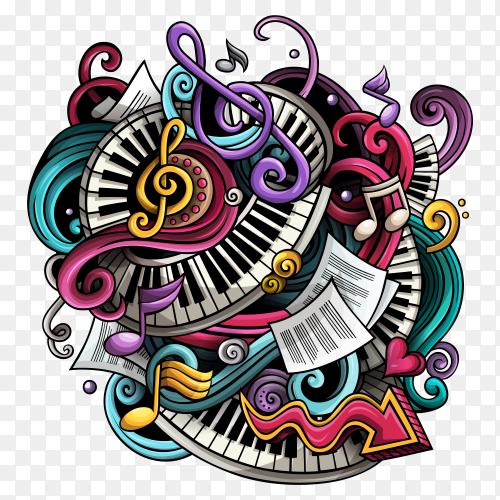 Cartoon Doodles Music Illustration on transparent background PNG