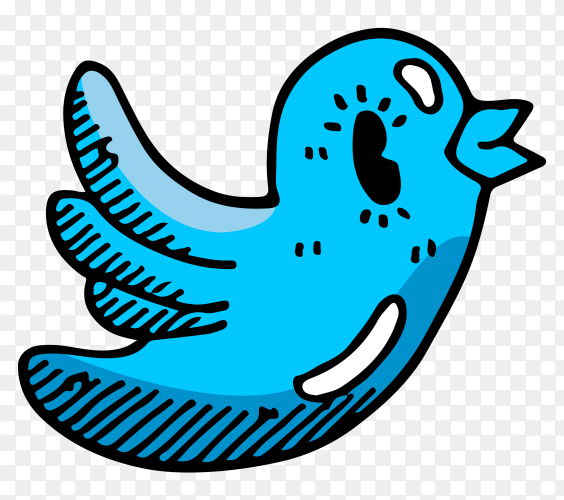 Cartoon Twitter logo on transparent background PNG