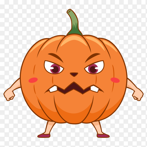 Cartoon halloween pumpkin with angry face on transparent background PNG