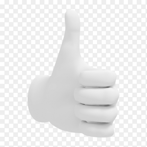 Cartoon hand thumb up illustration on transparent background PNG