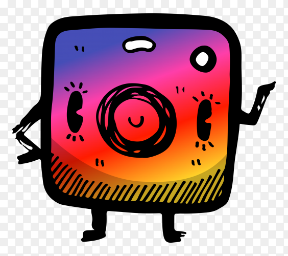 Cartoon instagram logo on transparent background PNG