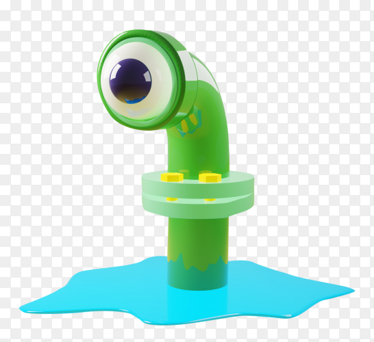 Cartoon monster with sewer pipe green with one eye on transparent background PNG