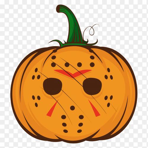 Cartoon orange halloween pumpkin on transparent background PNG