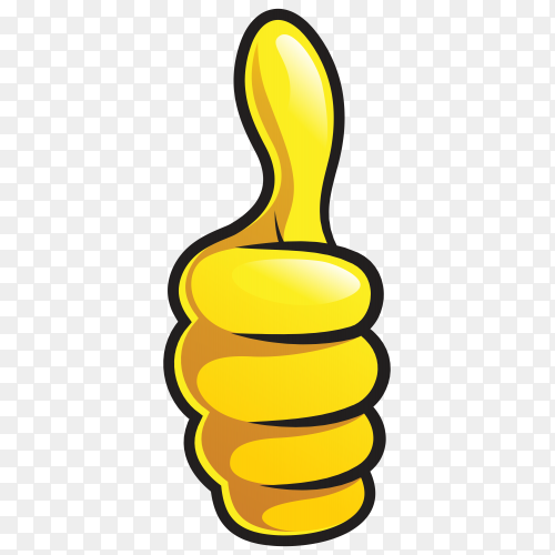Cartoon thumb up like on transparent PNG