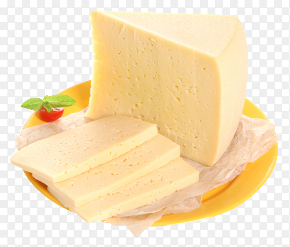 Cheese on yellow plate isolated on transparent background PNG