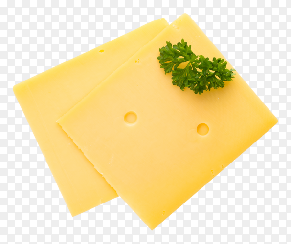 Cheese slice isolated on transparent background PNG
