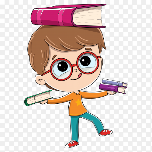 Child put a books on his head on transparent background PNG