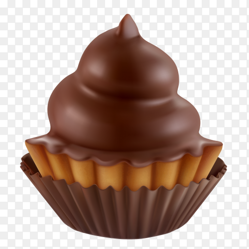 Chocolate cupcake on transparent background PNG