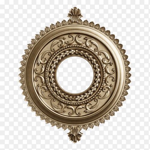 Classic round frame with ornament decor isolated on transparent background PNG