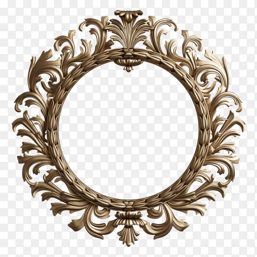 Classic round frame with ornament decor on transparent background PNG