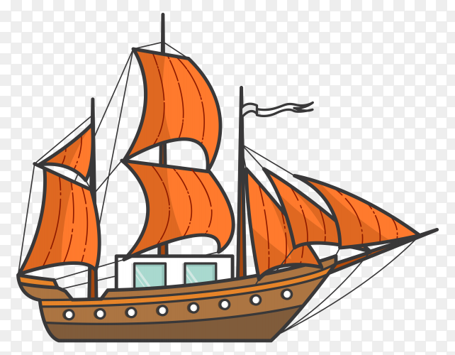 Color ship with orange sails on transparent background PNG