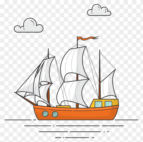 Color ship with white sails on transparent background PNG