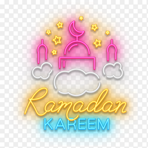 Colorful Ramadan kareem design with waning moon and islamic art on transparent background PNG