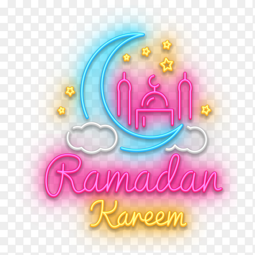 Colorful Ramadan kareem text isolated on transparent background PNG