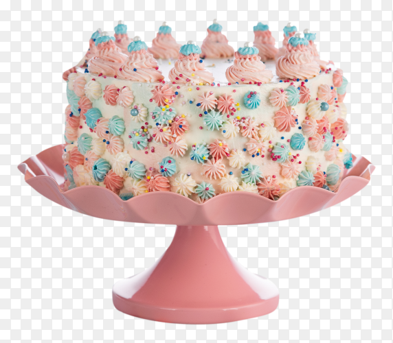 Colorful birthday cake with sprinkles on transparent background PNG