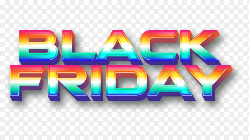 Colorful black friday banner on transparent background PNG
