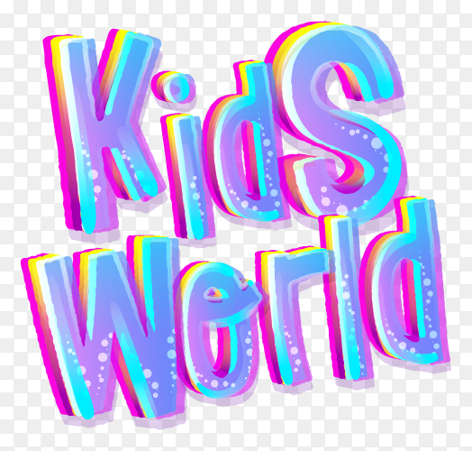 Colorful kids world lettering design on transparent background PNG