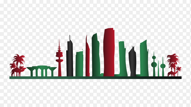 Colorful kuwait skyline on transparent background PNG