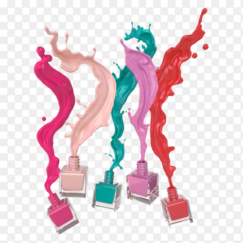 Colorful splash nail polish on transparent background PNG