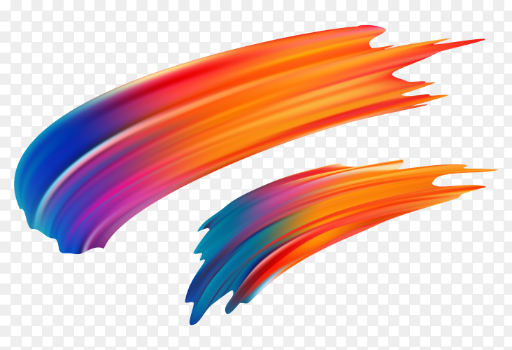 Colorful watercolor brush stroke on transparent background PNG