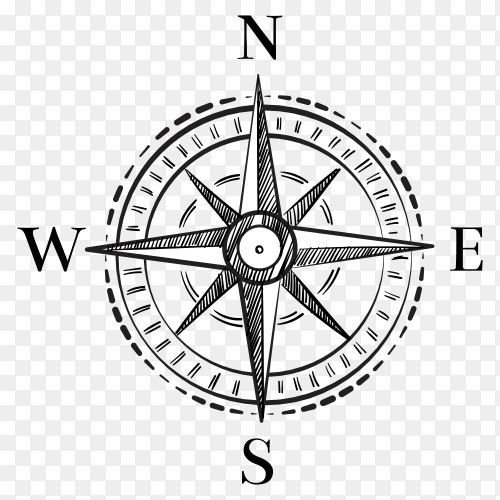 Compass isolated on transparent background PNG