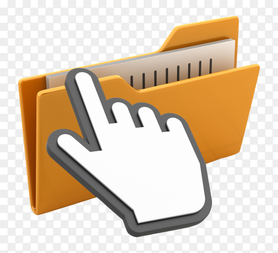 Computer folders with hand cursor on transparent background PNG