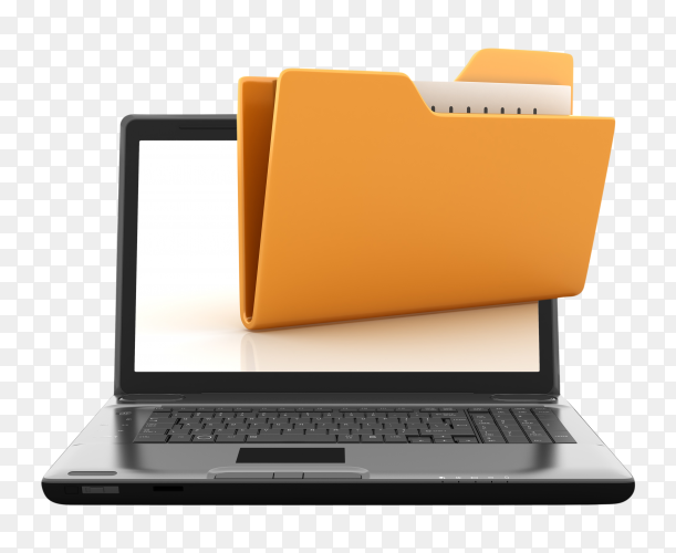 Computer laptop with folder on transparent background PNG