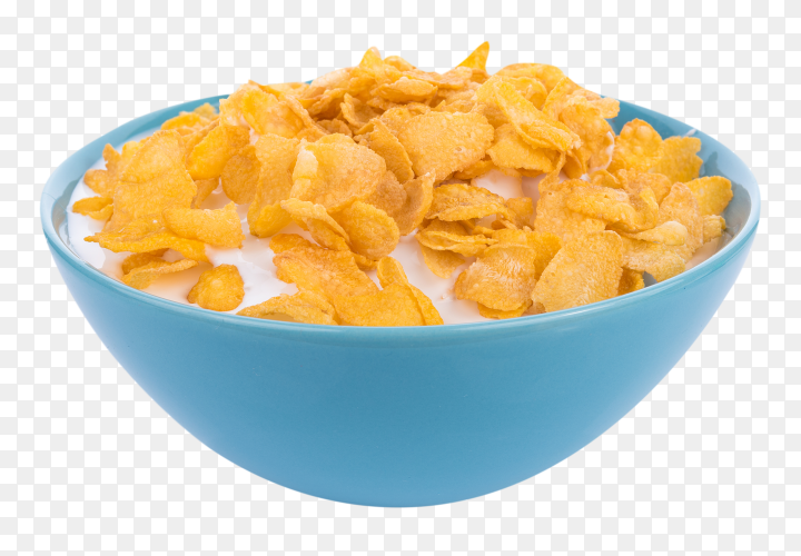 Corn flakes with milk in bowl on transparent background PNG
