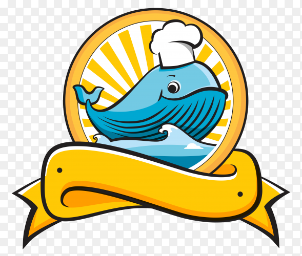 Cute fish chef logo design on transparent background PNG