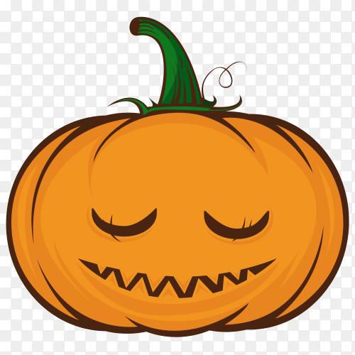 Cute halloween pumpkin face on transparent PNG