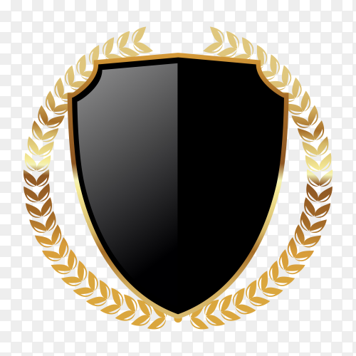 Dark golden empty badge label with wreathe on transparent PNG