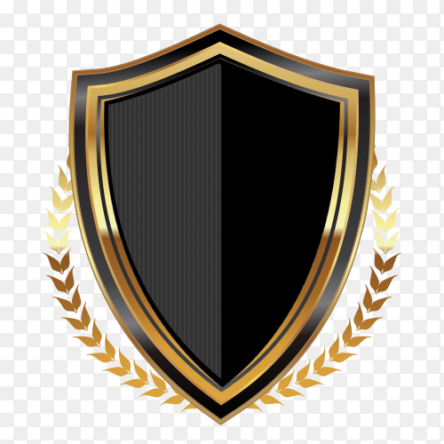 Dark golden empty badge label with wreathe on transparent background PNG