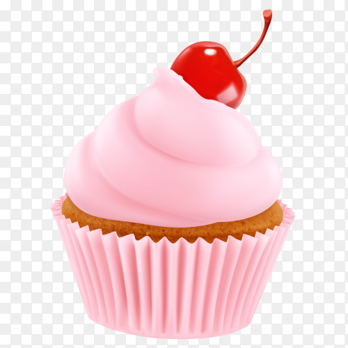 Delicious pink cupcake with cheery on transparent background PNG