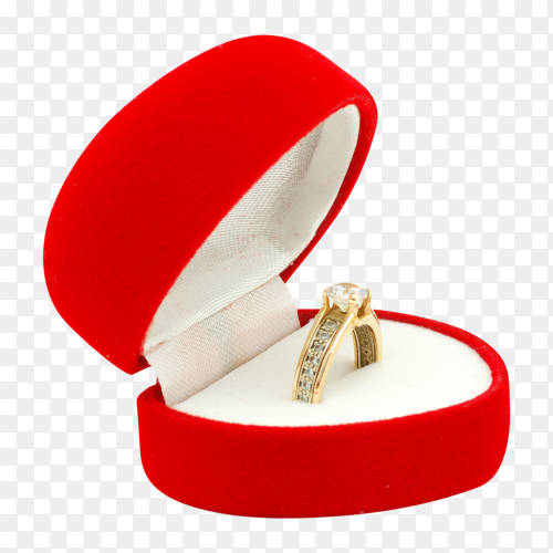 Diamond engagement ring its box isolated on transparent background PNG