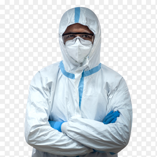 Doctor wear ppe suit with n95 mask face on transparent background PNG