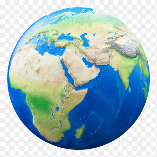 Earth isolated on transparent background PNG