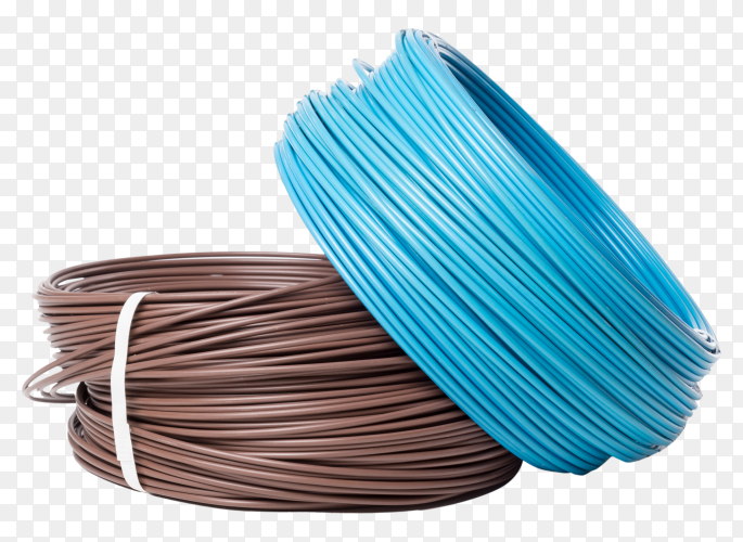 Electrical cable on transparent background PNG