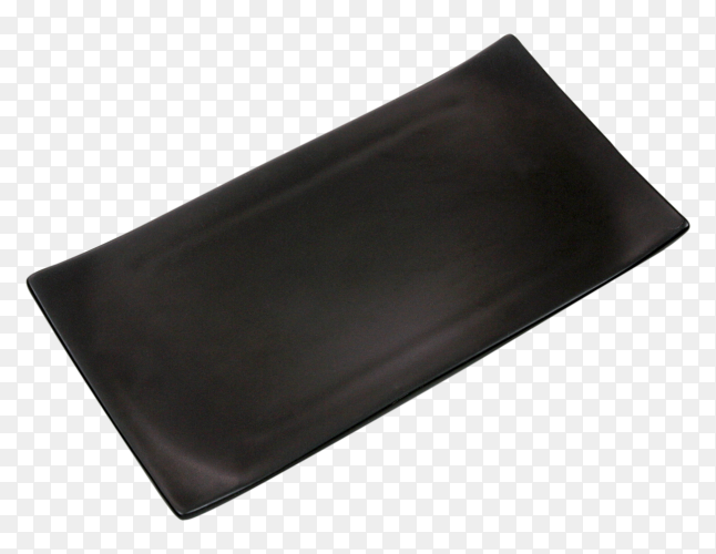Empty black rectangle ceramic plate on transparent background PNG