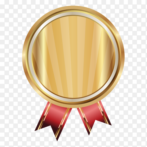 Empty gold medal on transparent background PNG