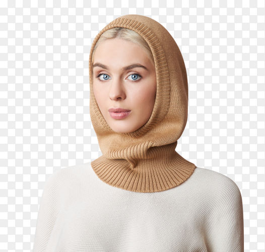 European muslim woman with blonde hair on transparent backround PNG