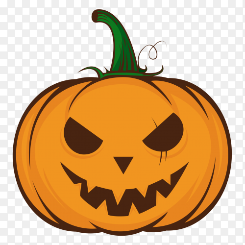 Evil halloween pumpkin cartoon emoji face character on transparent background PNG